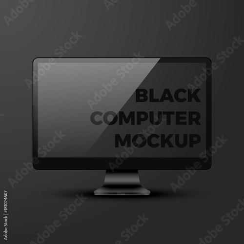 Shiny Realistic Vector Black Desktop Personal Computer Pc Monitor