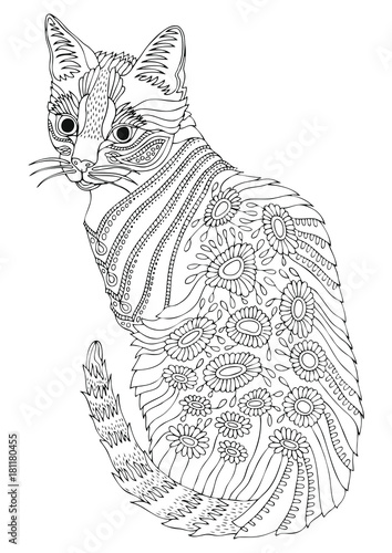 Hand Drawn Bengal Cat Sketch For Anti Stress Adult