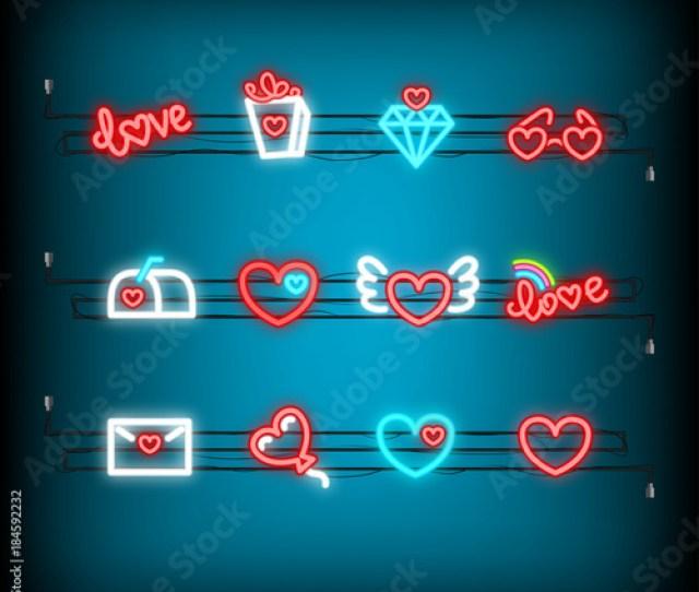 Neon Happy Valentines Day Set Icon Valentine