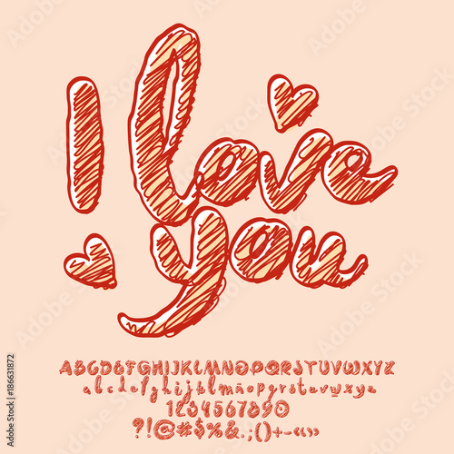 "Download ""Vector sketching greeting card I love you. Artistic set ..."
