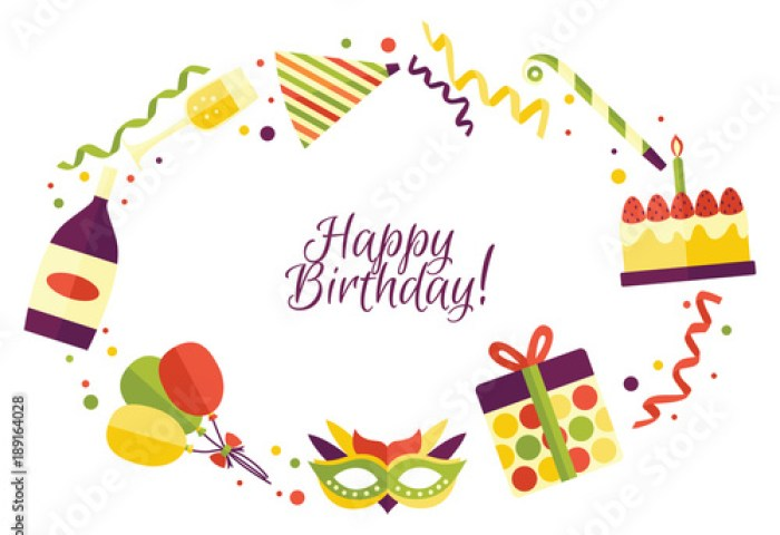 Vector Flat Happy Birthday Card Template With Celebration Symbols