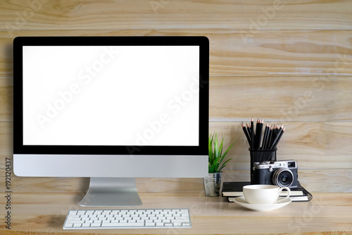 Computer Mockup With Creative Desk Empty Screen Display Stock