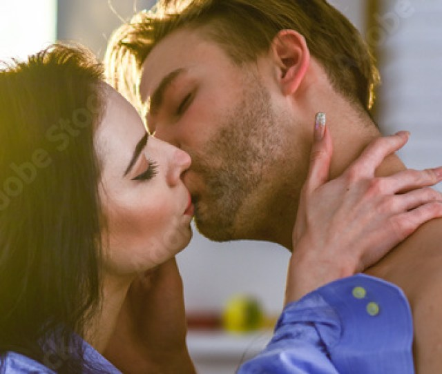 Seduction And Foreplay Celebrate Valentines Day Sensual Kiss Of Lovely Couple Close Up