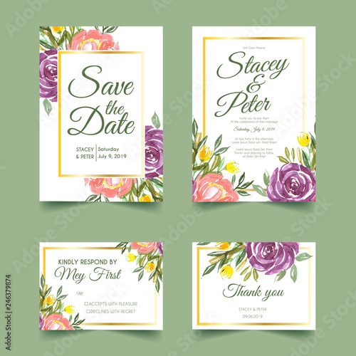 Sweet Fl Watercolor Wedding Invitation Rsvp Card