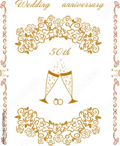 Golden Wedding Champagne Glasses Invitation Card
