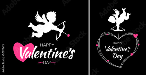 valentines day card design set cupid silhouette with bow and arrow and red heart on black background white flying angel amur symbol of love for