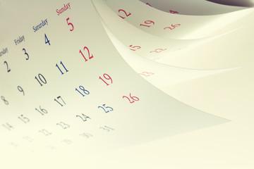 カレンダーとピン