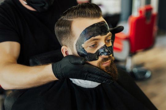 black mask barber images stock photos