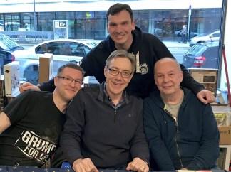 (von links vorne) Alex Bubenheimer (Panini Comics), Dan Jurgens, Ekki, Fans Steffen (hinten)