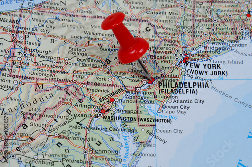 Red pin pointing on Philadelphia on USA map in atlas  Stock photo     Red pin pointing on Philadelphia on USA map in atlas