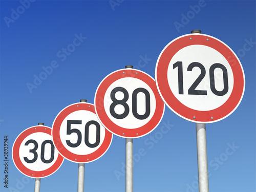 Geschwindigkeitsbegrenzungen 120 80 50 30