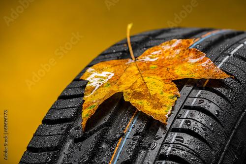 Canadian car car tires with autumn leaf