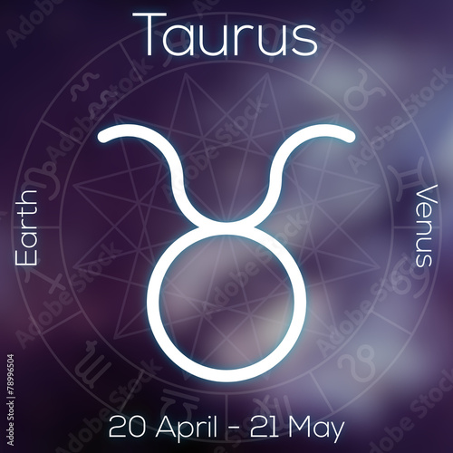 Zodiac sign - Taurus. White line astrological symbol