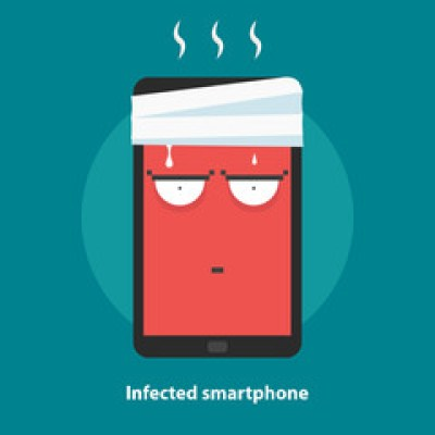 Infected smartphone, overheating, computer first aid