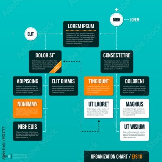 Modern organizational chart template on turquoise background  EPS10     Modern organizational chart template on turquoise background  EPS10