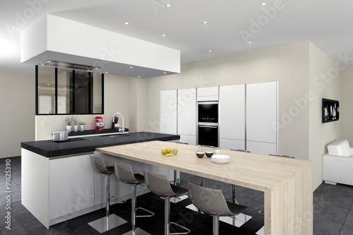 cuisine 08 blanc mat ilot avec table bois mur d armoires