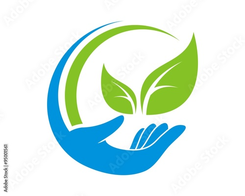 """abstract hand care leaf logo"" Stock image and royalty ..."