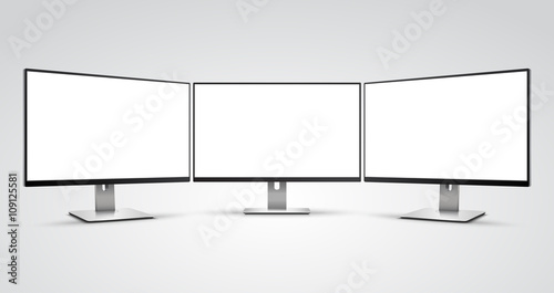 Three Computer Monitors With Ultra Thin Display Border With Blank