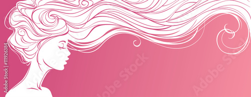 Vector Illustration Beautiful Silhouette Of Long Hair