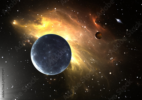 """""""Extrasolar planets or exoplanets. 3D illustration"""" Stock ..."""