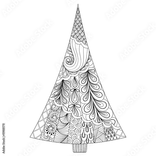Zentangle Stylized Christmas Tree Freehand Ethnic Vector