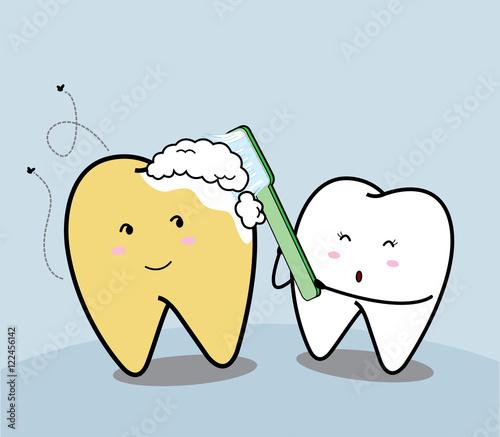 Cute Cartoon Brushing Teeth