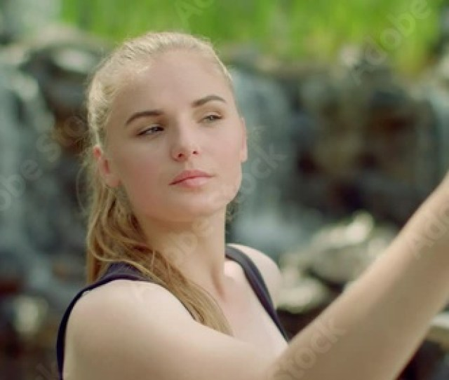 Sensual Woman Taking Selfie In Park Close Up Of Sexy Girl Taking Photo With Phone Selfie Woman Blonde Girl With Sensual Face Expression Taking Selfie