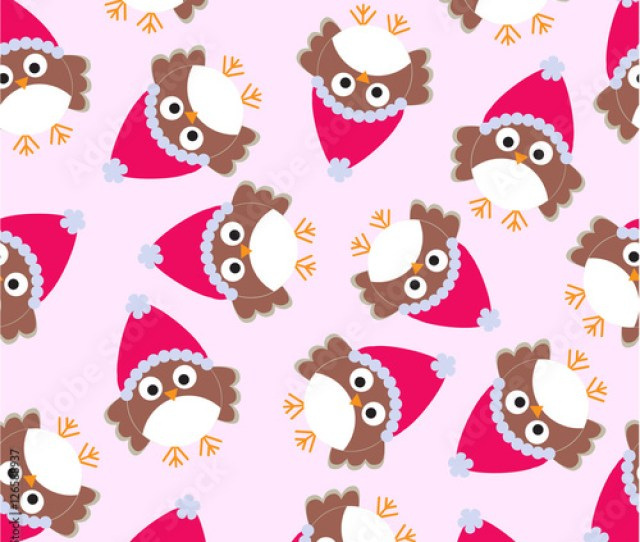 Seamless Background Of Christmas Illustration With Cute Owl On Pink Background Suitable For Wallpaper Scrap