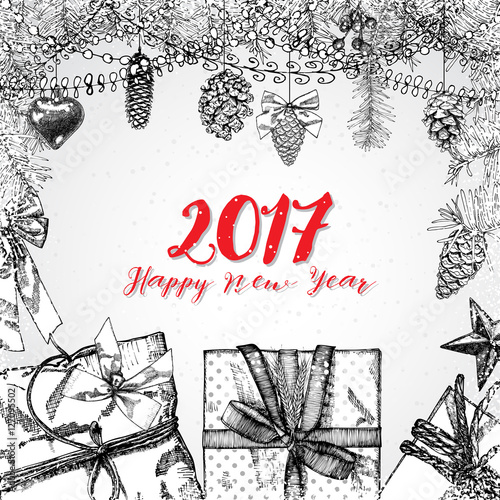 happy new year card drawing
