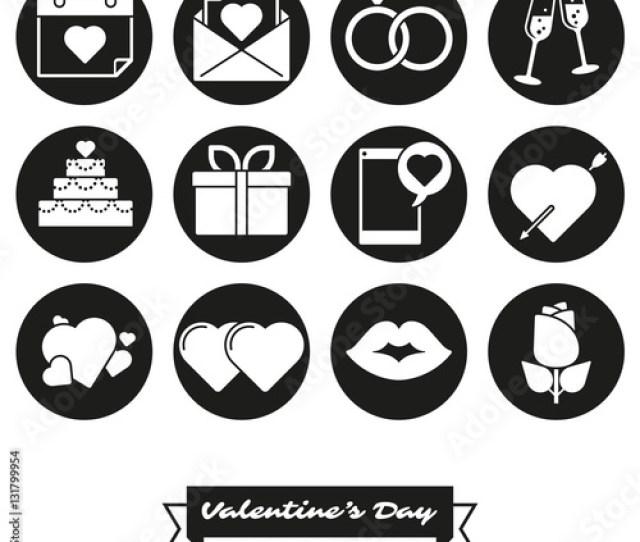 Happy Valentines Day Round Icon Set Collection Of Twelve Love And Romance Round Black Icons