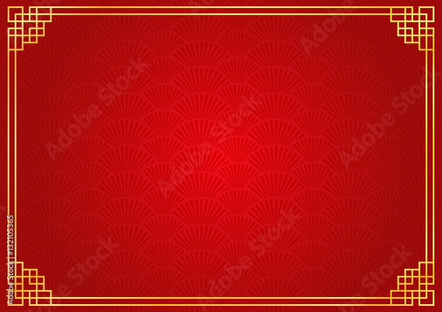 Chinese New Year Background With Golden Border Abstract