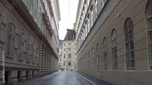 """Steadicam walk through narrow pedestrian street in Vienna ..."