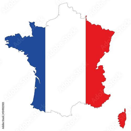 """""""Карта Франции. Силуэт в виде флага Франции. Оригинальная ..."""