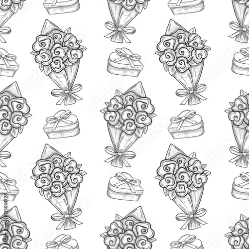 Seamless Pattern Of Valentine With Bouquet And A Gift Box