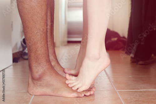 """""""Standing on his feet - Kissing"""" Stock photo and royalty ..."""