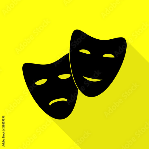 """Theater icon with happy and sad masks. Black icon with ..."