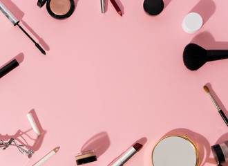 make up products and tools on pink background   Buy this stock photo     See More