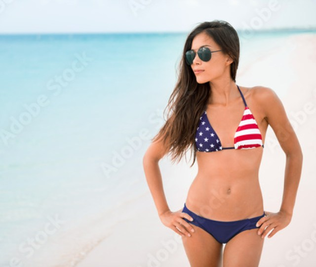 American Usa Flag Bikini Girl Beach Party Vacation On Summer Holidays Sexy Asian Woman With