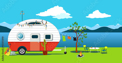 Cartoon Travelling Scene With A Vintage Camper A Fire