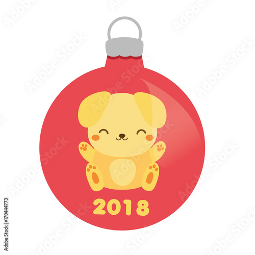 Christmas bauble with cute yellow dog  2018 new year symbol     Christmas bauble with cute yellow dog  2018 new year symbol  Isolated icon   design