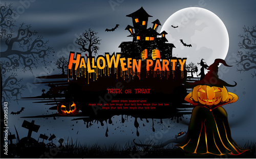 """""""Happy Halloween Background With Pumpkin, Haunted House"""