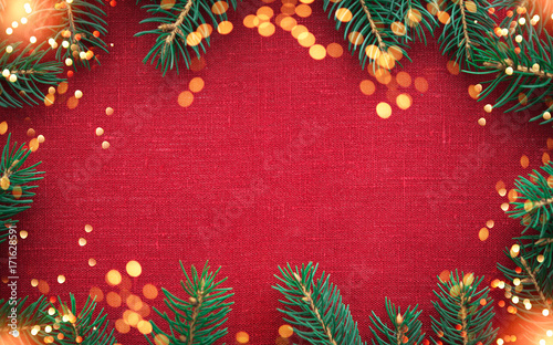 Christmas Background With Xmas Tree And Sparkle Bokeh