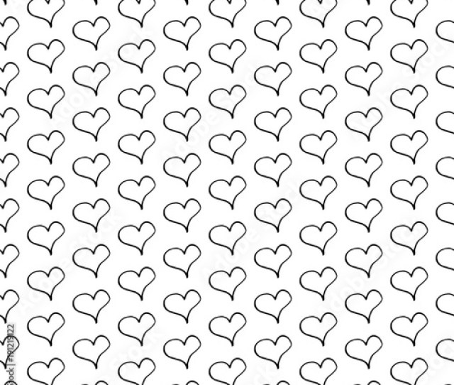 Abstract Heart Pattern With Hand Drawn Hearts Cute Vector Black And White Heart Pattern