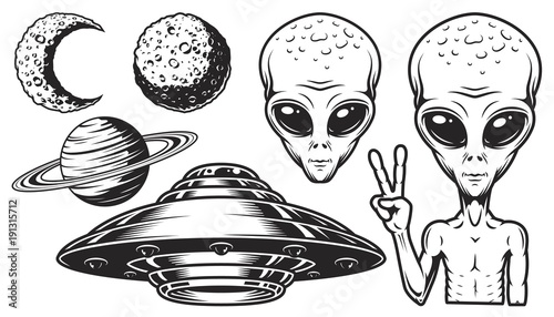 quotAliens and ufo setquot Stock image and royaltyfree vector
