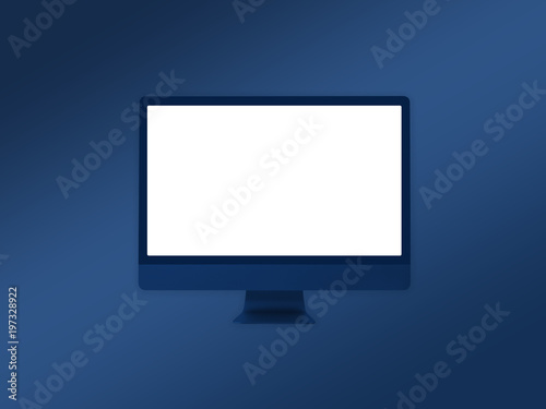Computer Monitor Mockup Template On Gradient Blue Background Stock