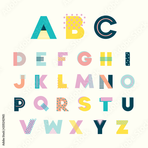Colorful Alphabet Memphis Style With Geometric Punchy Pastel