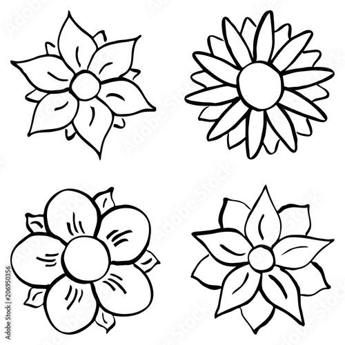 Cartoon Blumen Zum Ausmalen Stockfotos Und Lizenzfreie
