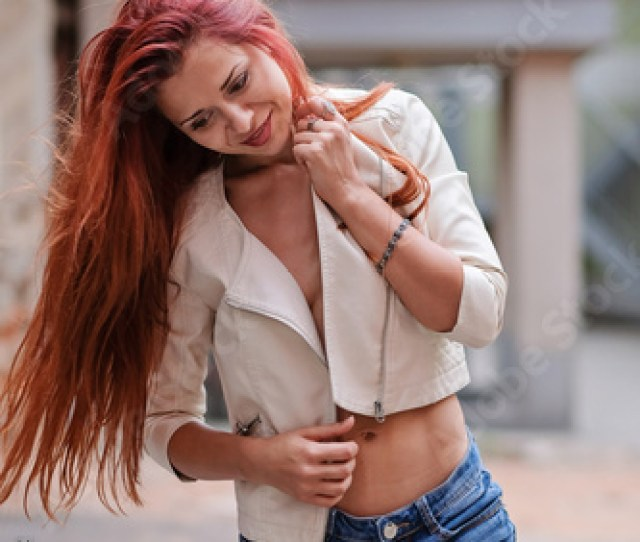 Hot Sexy Redhair Woman In The City Half Naked Girl Fashion Art Photo