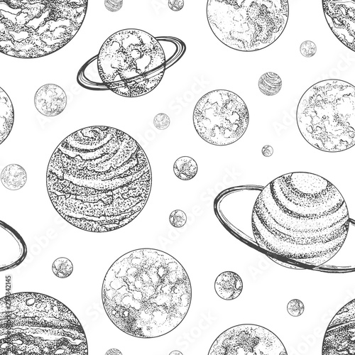 """""""Black and white seamless pattern with planets and other ..."""