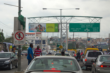 LAGOS, NIGERIA - MAY 11, 2012: Traffic jam and city view of Lagos, the largest city in Nigeria and the African continent. Lagos is one of the fastest growing cities in the world, in Nigeria, on May 11